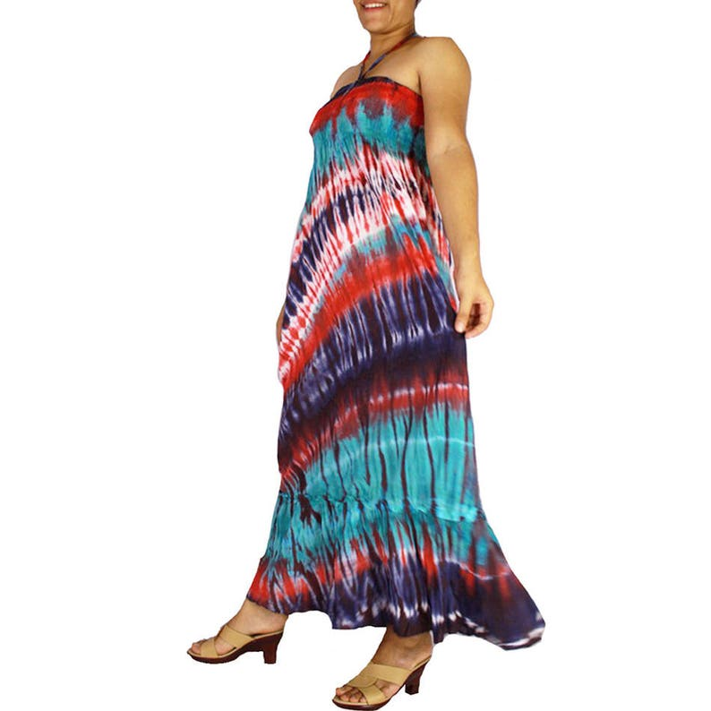 438 Cotton tie dye light and soft smock sleepless boho long summer sundress