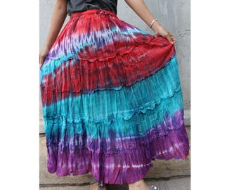 Red Blue PurpleTie Dye Cotton  Boho Hippie Gypsy Comfy Summer Casual Long Elastic Waist Skirt  Short dress S-L (TD 154)