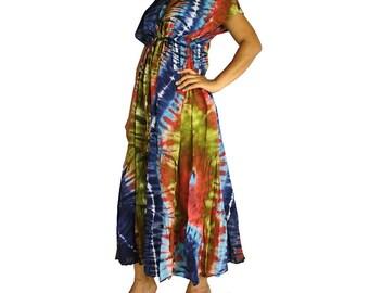 Multi-Color Hippie Gypsy 100 % Tie Dye Cotton Long Maxi Kimono Dress S-L (TD 37)
