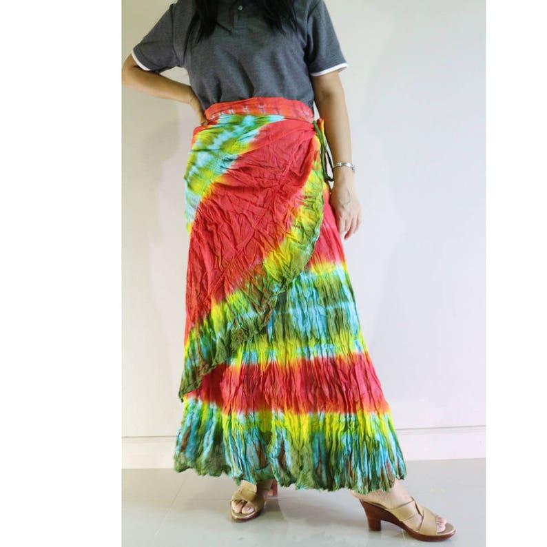 e29e1ed369eef Free Shipping Long Tie Dye Cotton Green Red Yellow Ruffle Boho Hippie  Summer Casual Wrap Skirt S-L (TD 8)