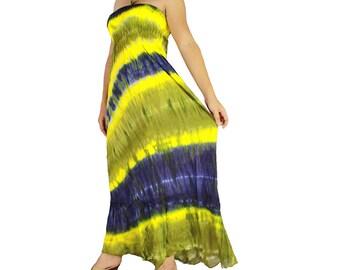 Off shoulder dress tie dye cotton 2 in 1 boho smock tube dress maxi summer sundress comfy beach casual dress long skirt (TD 82)