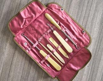 Vintage Pink Silk-lined Roll Up Sewing Vanity Kit