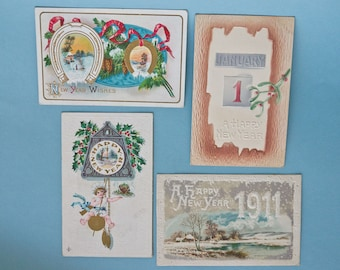 WWI Era Antique Embossed New Years - themed Postcard Lot of 4