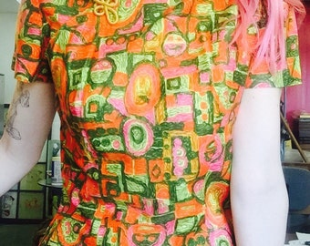 1960s psychedelic cheongsam with satin pants