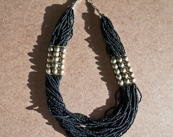 Art Deco Brass Ball and Multi Black Bead Strand Necklace
