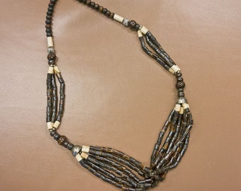Vintage Tribal Necklace with Wooden , Bone , and Silver Tone Beads