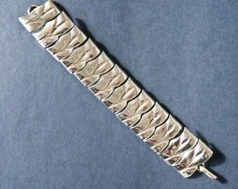 Mid Century Silver Modernist Link Bracelet