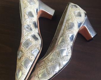 Vintage Jack Rogers silver diamond shoes size 7