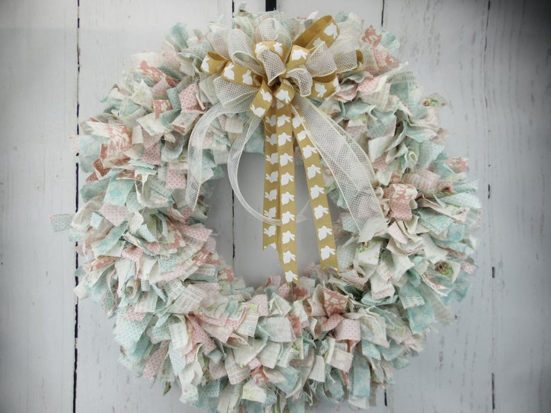 Fabric Easter Rag Wreath Blue Pink Easter Fabric Door Decor image 0