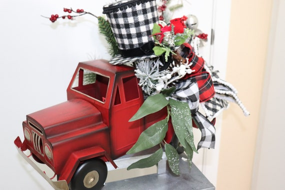 Christmas Red Truck Centerpiece Black White Buffalo Check Farmhouse Table Decor Holiday Decorations Top Hat Cardinal Winter By Sway Me Vegas Catch My Party