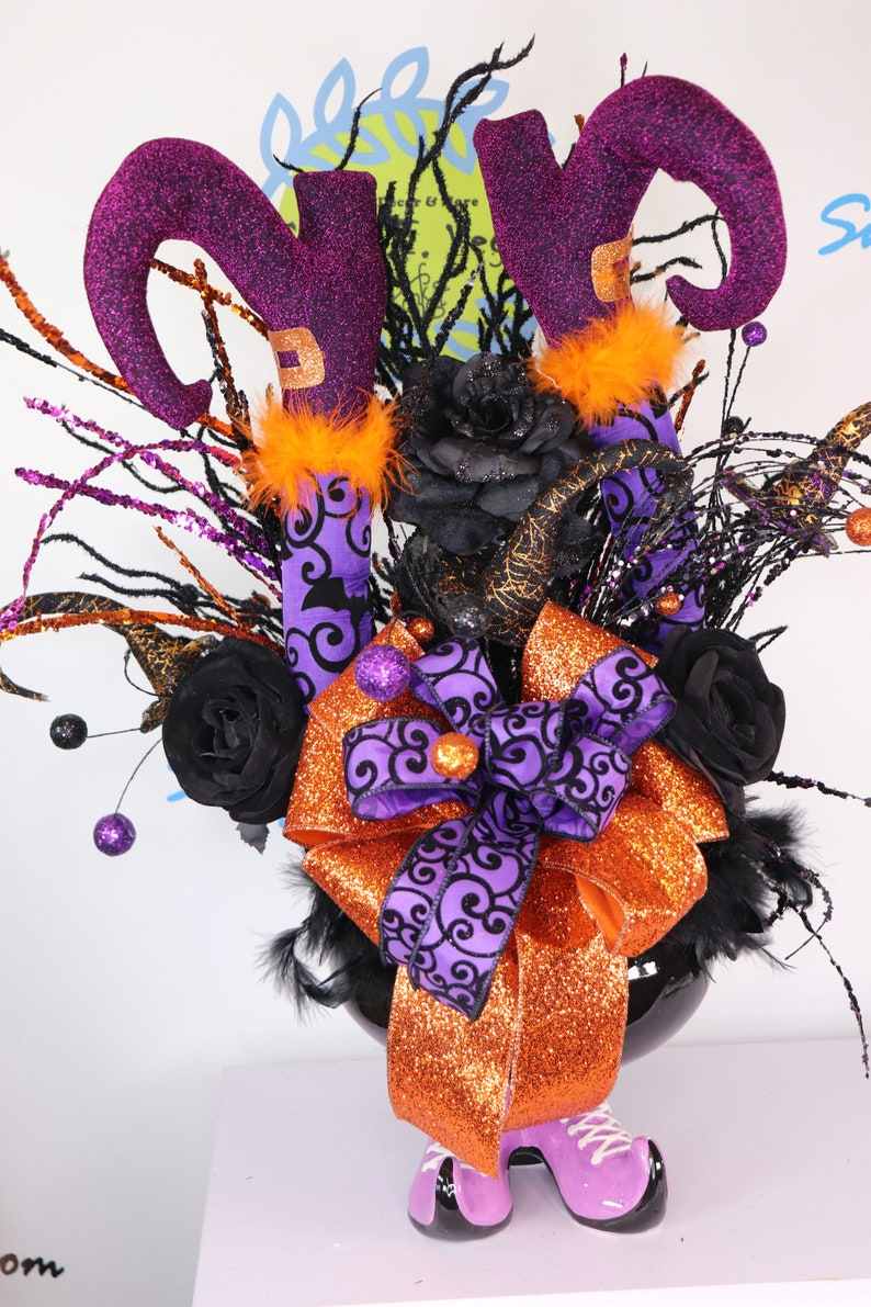 Halloween Witch Legs and  Boot Cauldron Centerpiece Purple image 0