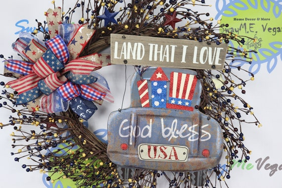 Rustic Americana Pip Berry Grapevine Wreath 4th Of July Decorations Patriotic Decor Independence Day Farmhouse Truck Swag Stars Stripes By Sway Me Vegas Catch My Party