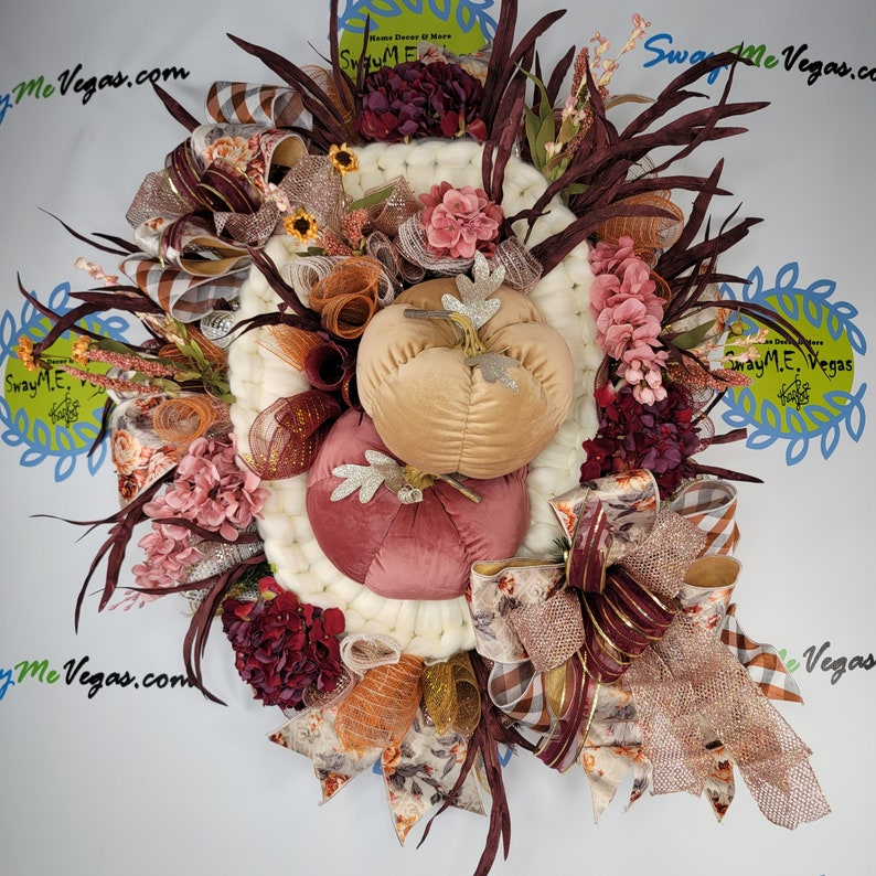 Fall Pink Burgundy Ivory Wreath with Velvet Pumpkins image 0