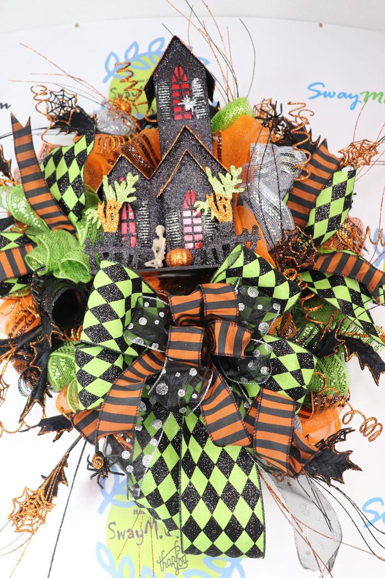 Halloween House Lighted Wreath Orange Green Black  Haunted image 0