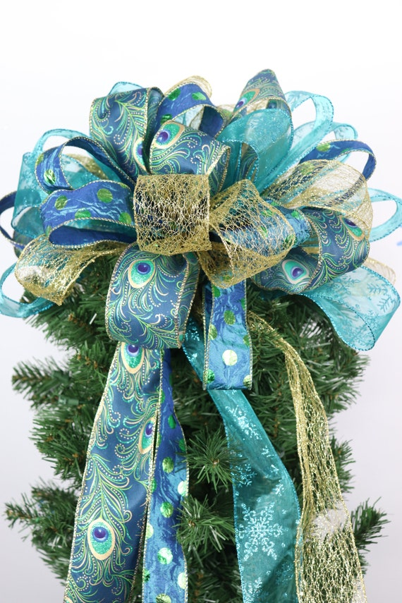 Car Christmas Tree Topper.Peacock Tree Topper Bow Ribbon For Christmas Gold