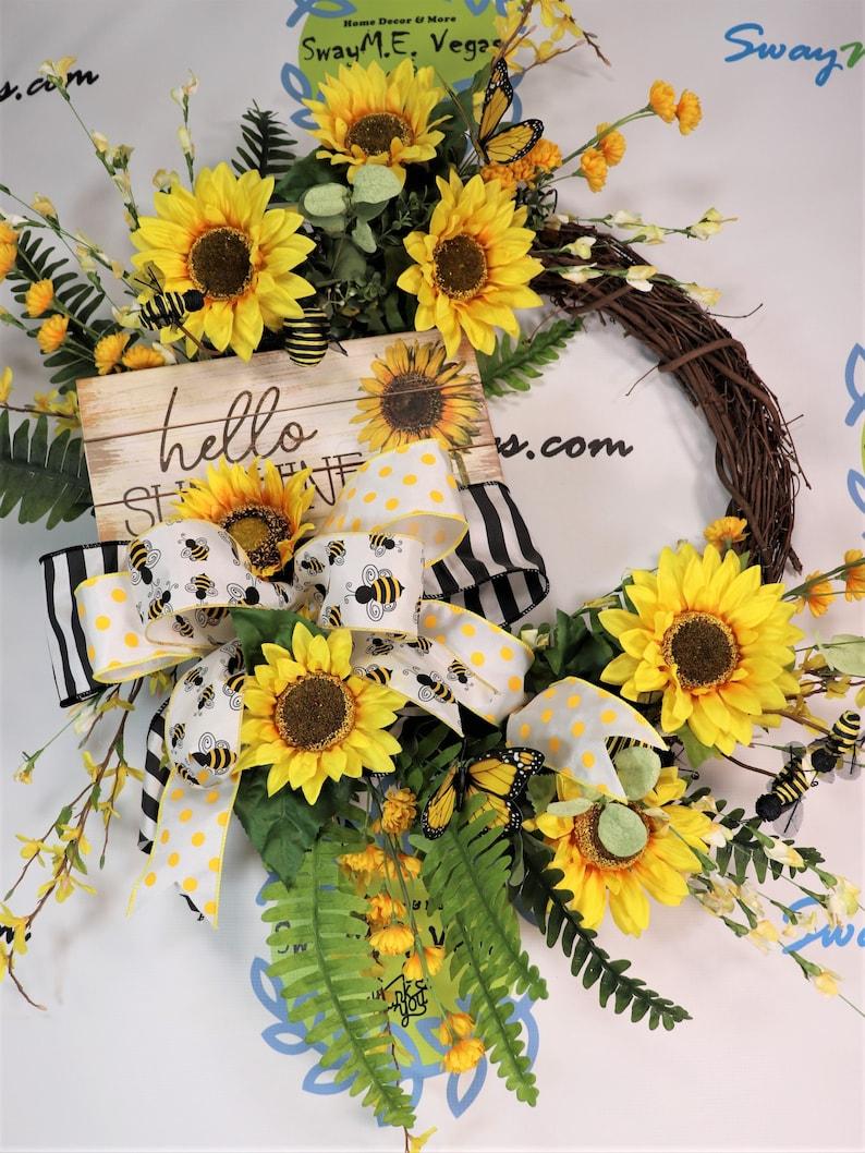 Summer Yellow  Sunflower Bee Butterfly Wreath Grapevine Door image 0