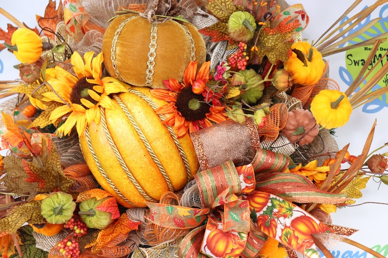 Fall Traditional Wreath with Pumpkins Sunflowers. Autumn image 0