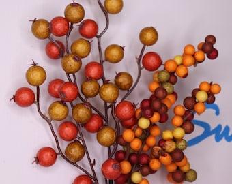 Fall Harvest Berry Crabapple PIck, Thanksgiving Decor, Autumn Berry Spray, Wreath Supply, Craft Supply, Centerpiece Decorations,