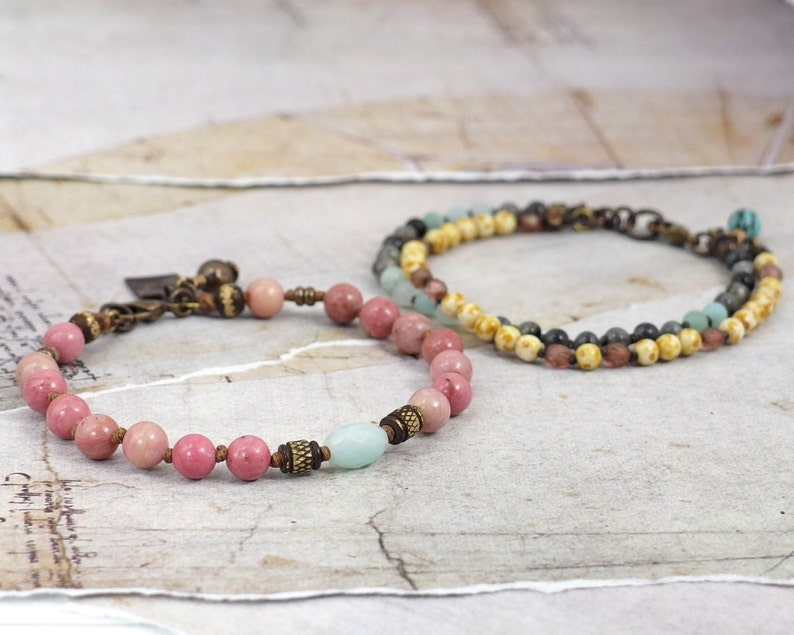 Pink rhodonite and amazonite jewelry stack OOAK Multi gemstone bracelet SET Natural blue labradorite One of a kind gift for women