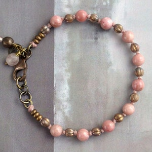 Pink lepidolite bracelet SET of 3 OOAK Pink gemstone charm bracelet with solid brass chain Czech glass jewelry for stacking