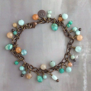 Unique gift for women Rustic multi stone jewelry set OOAK One of a kind present Custom gemstone bracelet stack