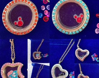 Living Memory Locket Necklace with Floating Crystal Charms - choice of shape and design