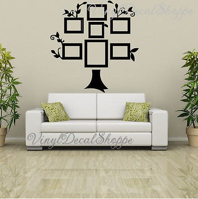 Large Family Tree Wall Decal, Family Tree, Picture Frame Tree, Wall ...