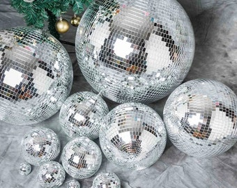 Choose your size mirrored Disco Ball, Silver Disco Mirror Ball - Large Disco Ball with Hanging Swivel Ring, Wedding Christmas, 70 theme