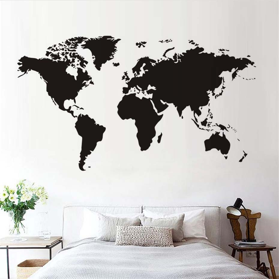 World Map Wall Decal, Large World Map, Atlas Wall Decal ...