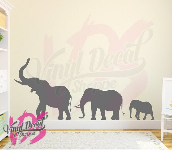 large elephant wall decal elephant nursery nursery wall | etsy