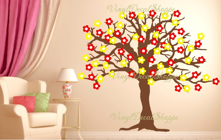 large flowertree wall decal, nursery decal, wall decal, wall mural