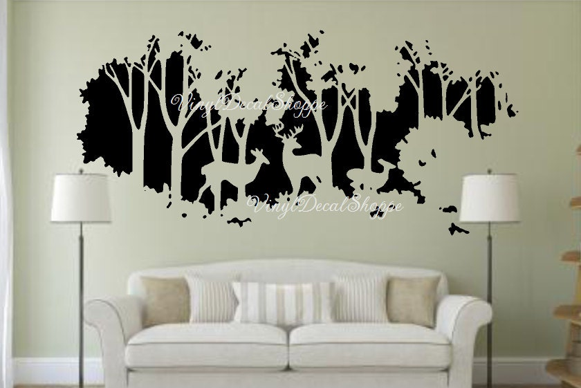 Deer in Woods Wall Decal Large Wall Decal Deer Wall Mural Wall