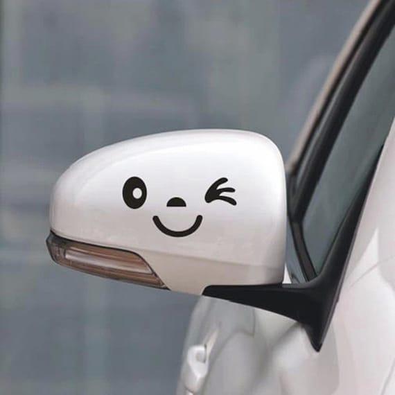 lustige auto aufkleber smiley gesicht auto spiegel aufkleber. Black Bedroom Furniture Sets. Home Design Ideas