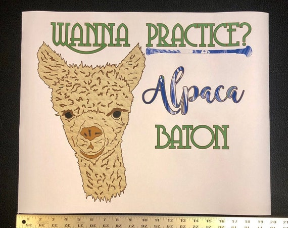 "Baton Twirler paper POSTER print or WALL DECAL - ""Wanna Practice? Alpaca Baton"""