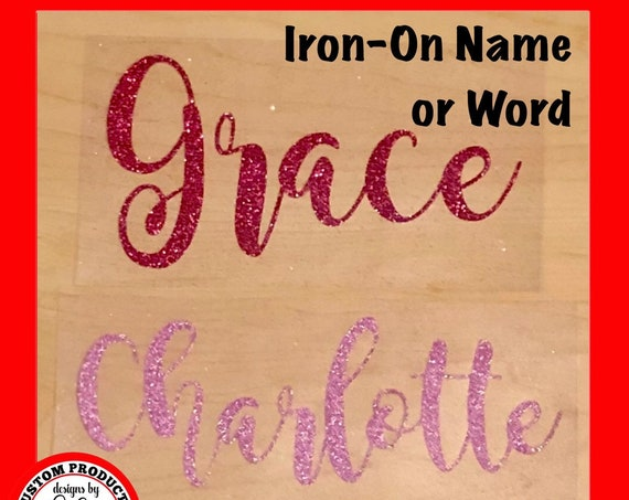 Glitter WORD or NAME Iron-on | Choose size & color