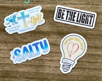 Salt & Light Sticker Pack- Christian Faith FOUR 2.5 inch Waterproof Stickers - Use for cars, water bottles, laptops and more!
