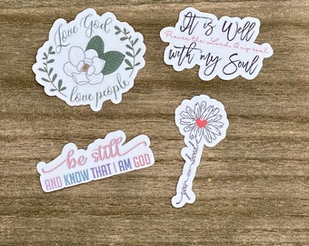 Love God Love People Sticker Pack- Christian Faith FOUR 2.5 inch Waterproof Stickers - Use for cars, water bottles, laptops and more!