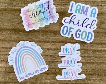 Pretty Pastels Sticker Pack- Christian Faith FOUR 2.5 inch Waterproof Stickers - Use for cars, water bottles, laptops and more!