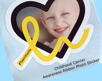 Childhood Cancer Photo Sticker with Awareness Ribbon   Add name, text, dates    WATERPROOF Sticker, Choice of Size