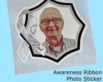 White Awareness Ribbon with Photo   Add name, text, dates    WATERPROOF Sticker, Choice of Size