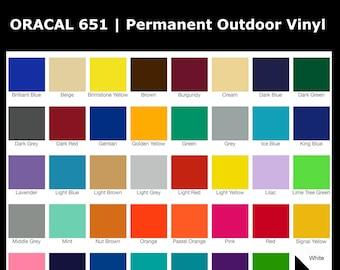 Oracal 651 Vinyl   Permanent Outdoor Vinyl   High Gloss Vinyl   UV Safe   PVC Film