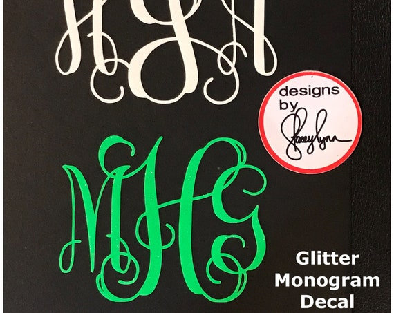 Premium GLITTER Monogram  | Decals for Yeti cups, tumblers, mugs, water bottles, cars, laptops and devices | Monogram Sticker