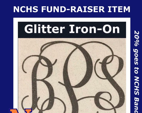 Glitter IRON-ON MONOGRAM | Choose size and color | Monogram for shirts, blankets, bags & more | Free shipping
