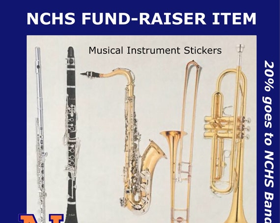 "MUSICAL INSTRUMENT STICKERS | 5"" x 8"" sheet | alto/ bari saxophone, clarinet, flute, trombone, trumpet, violin, viola, cello, bass & more"