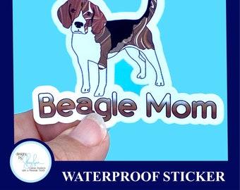 Beagle Mom Sticker Waterproof Sticker - Laptop Sticker, Water Bottle Sticker,  , Cornhole Sticker