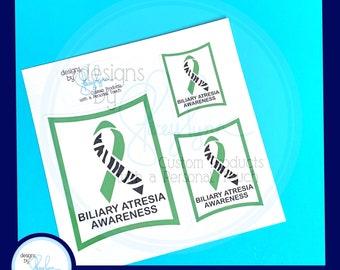 "Biliary Atresia Awareness Waterproof Stickers - Set of 3 - 1.5"", 2"" and 3"""
