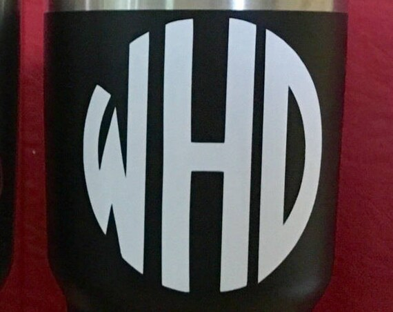 Monogram decal, Round | Choose size & color | Decals for Yeti cups, tumblers, mugs, water bottles, cars, laptops and devices