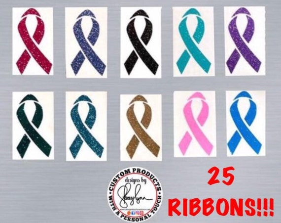 Bulk GLITTER Cancer Awareness Decal, 25 pieces | Awareness Ribbon decals for fund-rasiers, teams and groups