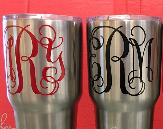 Monogram decals- your choice of size and color, Waterproof Vine Monogram Sticker