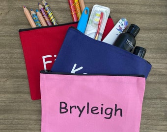 Personalized Canvas Pouch with zipper- Use for toiletries, cosmetics, pencils, first aid, dog supplies, and more!